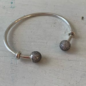 Pandora Moments Open Bangle with Pave end caps